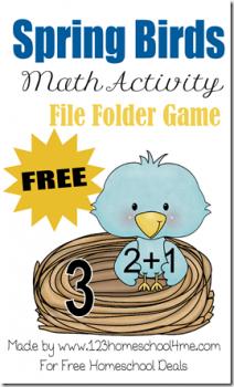 free spring math file folder game