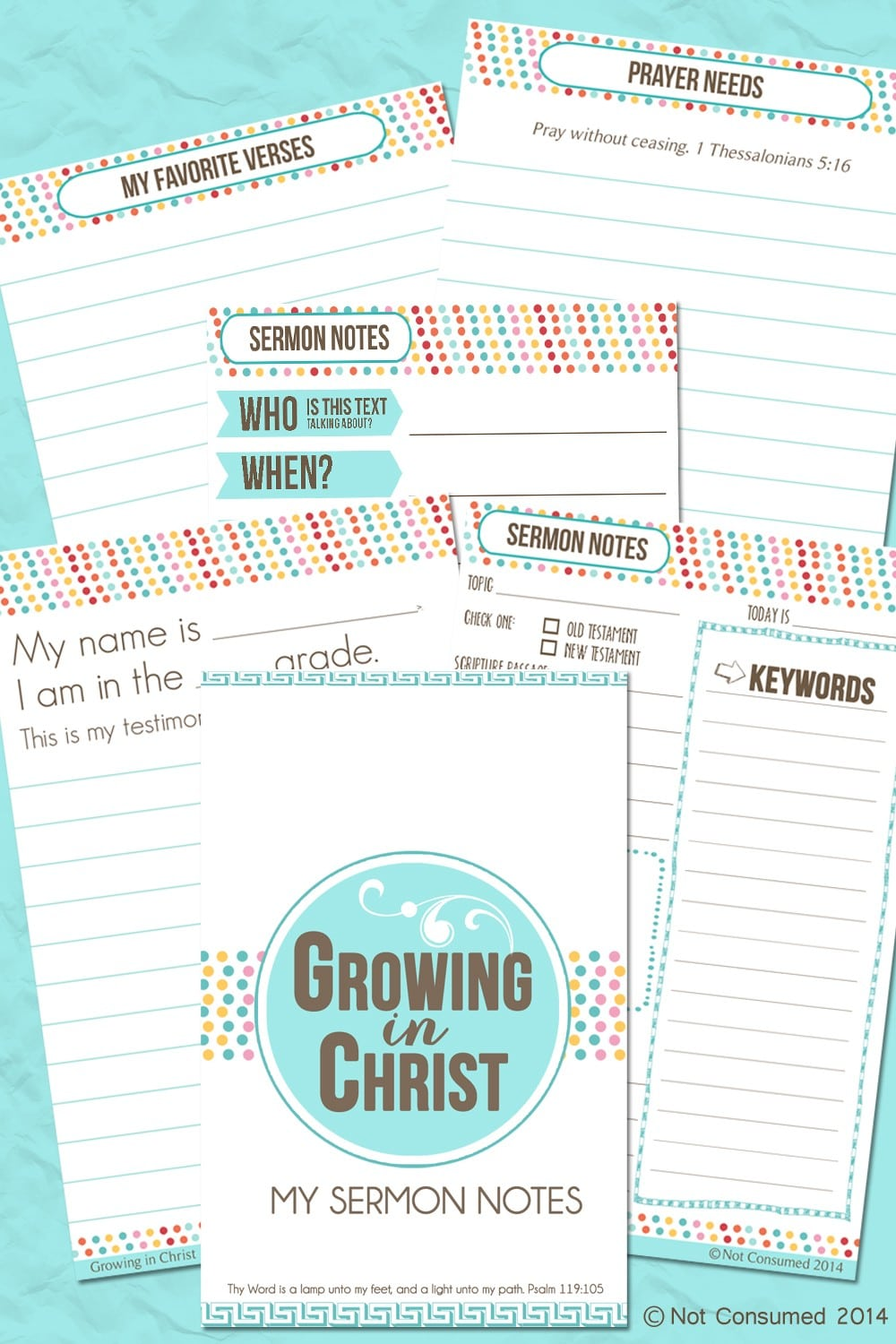 Free Growing in Christ Sermon Notebook for Kids