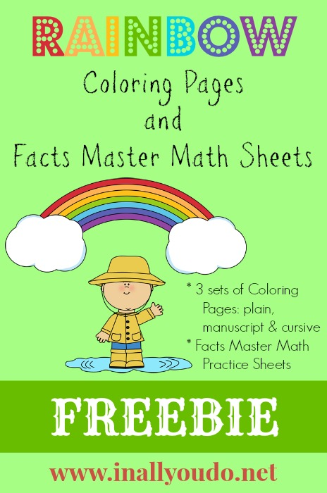 Rainbow Coloring and Math Pages