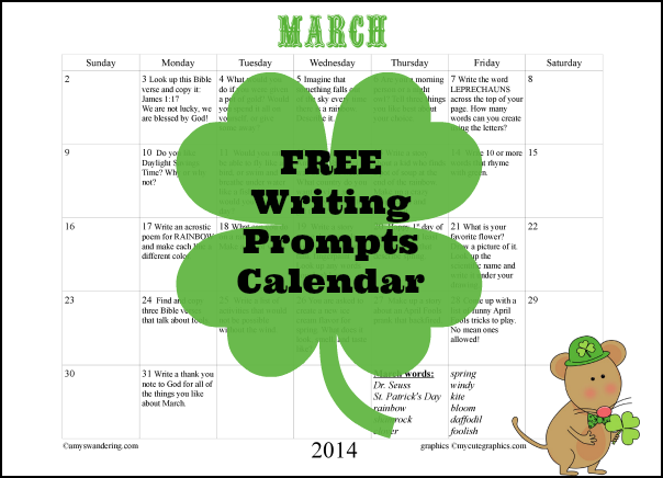 Writing Prompts Calendar March
