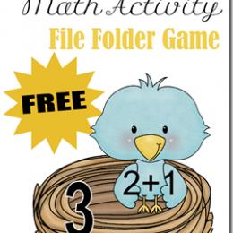 Free File Folder Game Printables: Spring Birds Math Activity