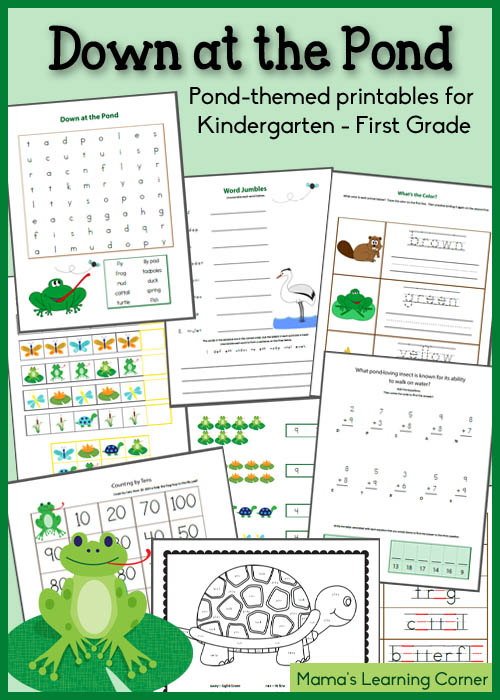 Free Down at the Pond Printables for K-1st