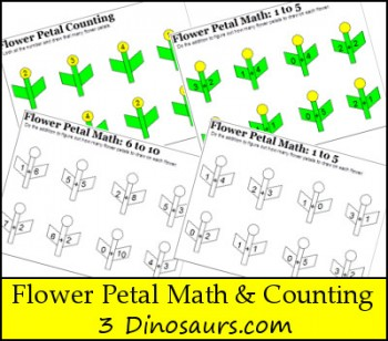 Flower Petal Math and Counting Printables