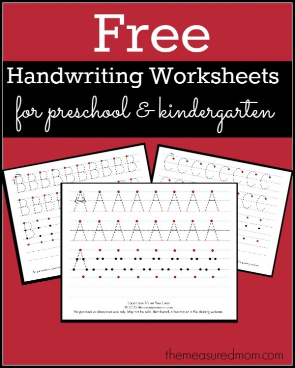 Free Handwriting Worksheets for PreK and Kindergarten
