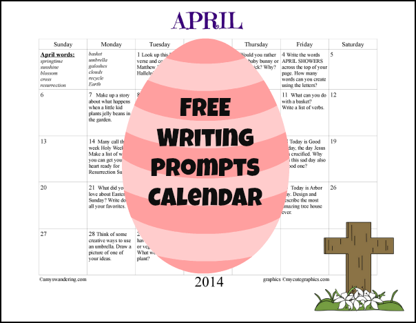 Free Writing Prompts Calendar
