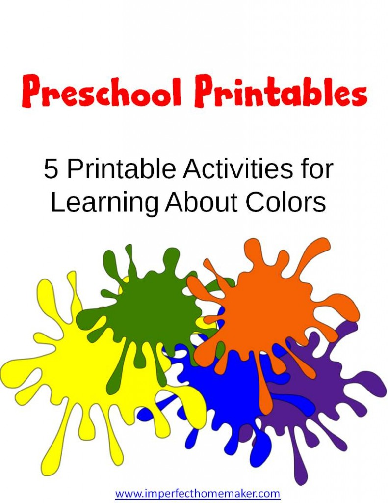 Preschool Printables learning colors