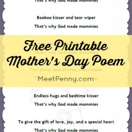 Printable Mother's Day Poem from Kids – Free!