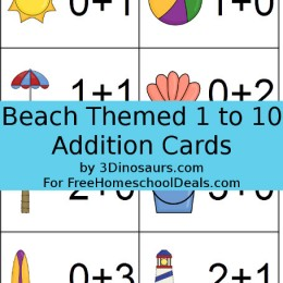 FREE Beach Themed 1 to 10 Addition Cards (instant download!)
