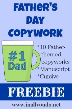 Father's Day Copywork Freebie