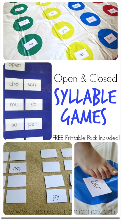 Premise Indicator Words: Free Printables: Open And Closed Syllable Games
