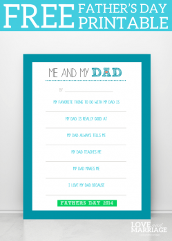 Father's Day Me and My Dad FREE Printable