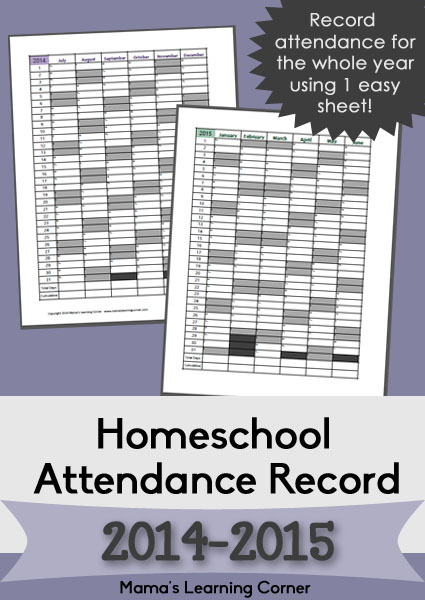 FREE Printable Homeschool Attendance Record for 2014-15