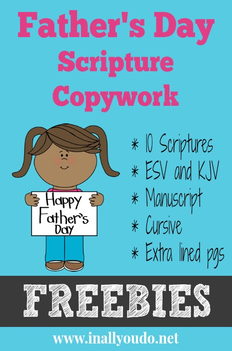 FREE Father's Day Scripture Copywork