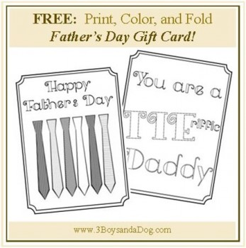 FREE Print and Color Father's Day Card
