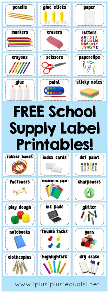 picture regarding Free Printable Classroom Labels With Pictures called Absolutely free Printbable University Provide Labels