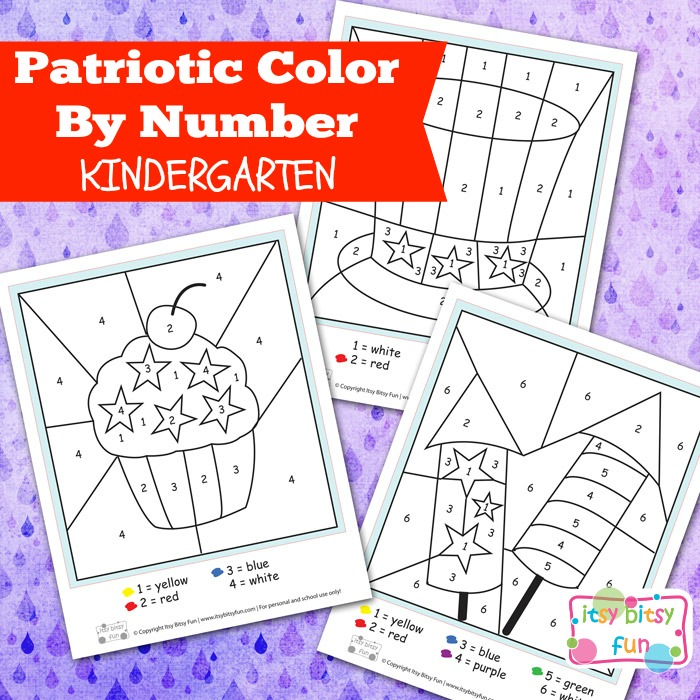 FREE Patriotic Color by Number Sheets