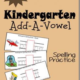 Free Kindergarten Add-A-Vowel Spelling Practice Cards