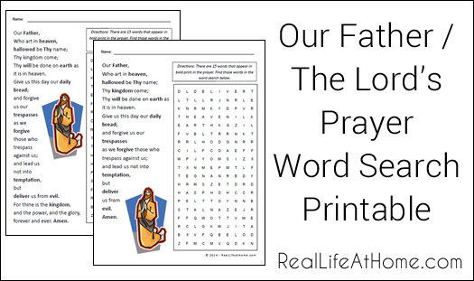 Free Lord S Prayer Word Search Printable