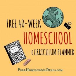FREE 40 WEEK HOMESCHOOL CURRICULUM PLANNER – instant download!