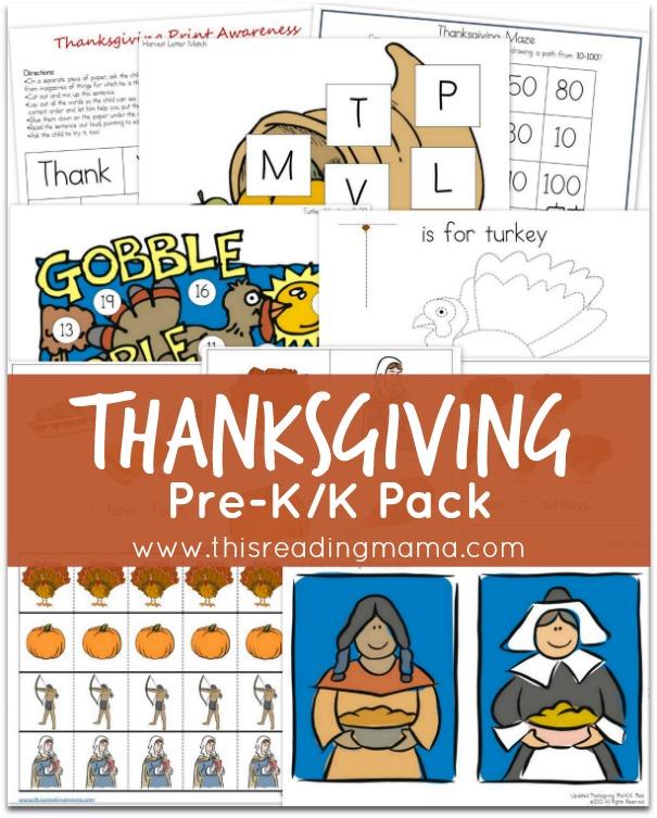 FREE Thanksgiving PreK-K Printables Pack