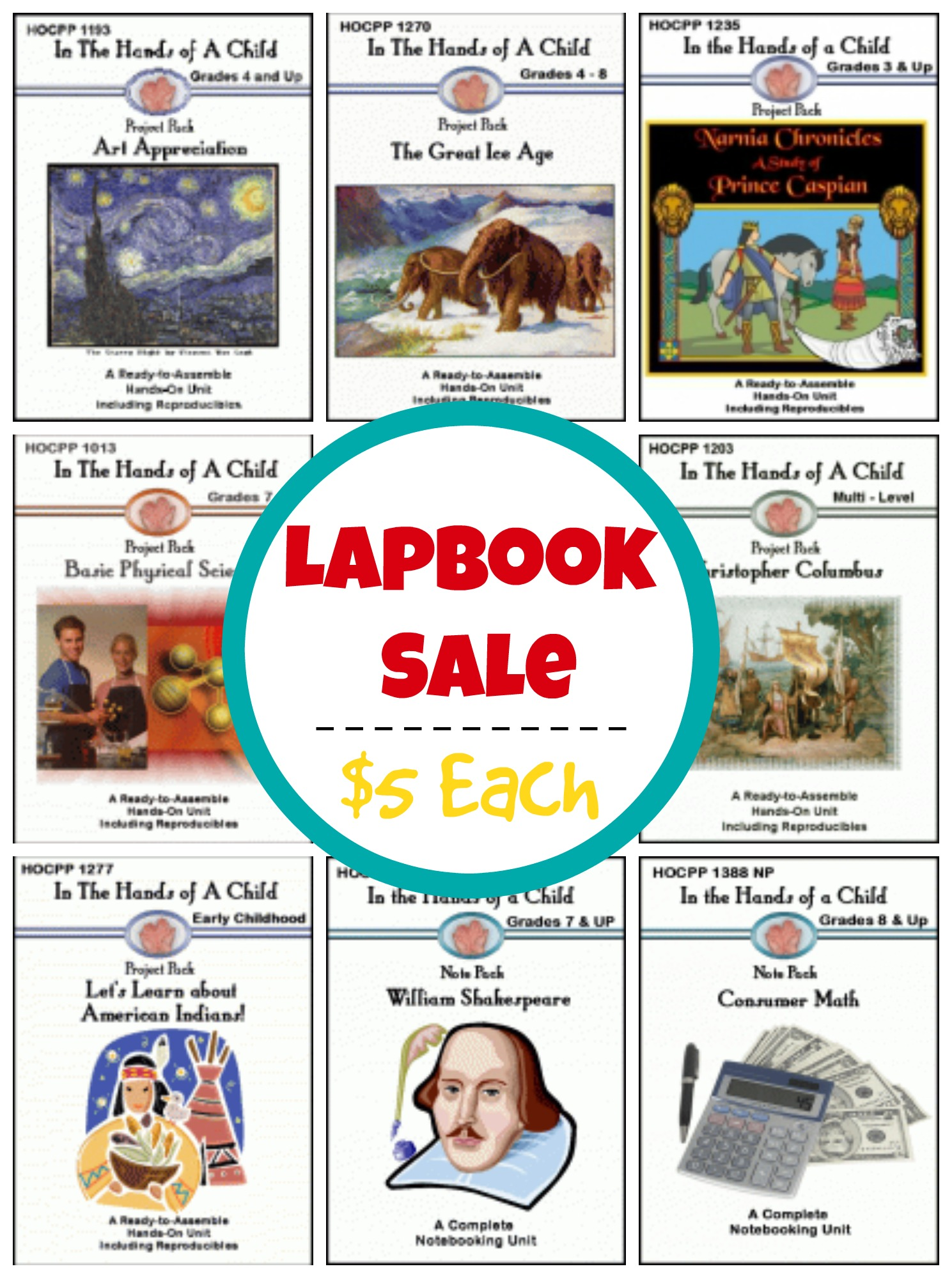 In the Hands of a Child Lapbook Sale - $5 Each!