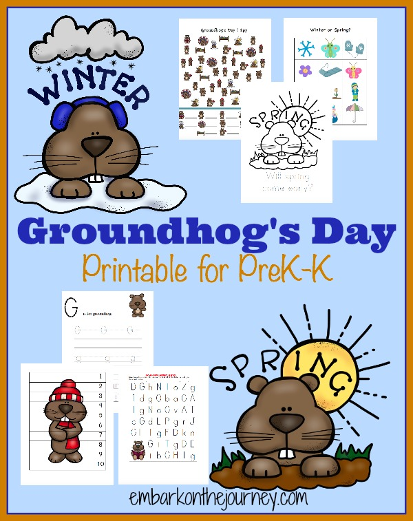 image relating to Ground Hog Day Printable identified as Totally free Groundhogs Working day PreK-K Pack