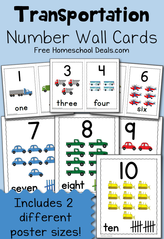 Transportation Number Wall Cards FHD March 2015
