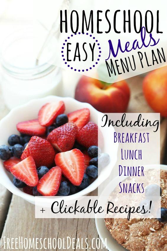 Easy Homeschool Meals Menu Plan