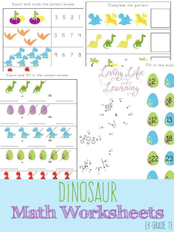 Math Worksheets printable math worksheets kindergarten : FREE Dinosaur Math Worksheets {15 page pack} | Free Homeschool Deals ©