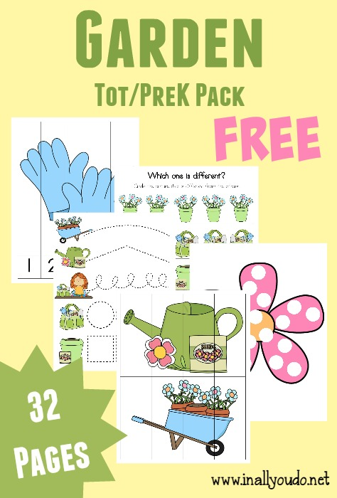 FREE PreK and K Garden Themed Learning Pack {32 Pages!}