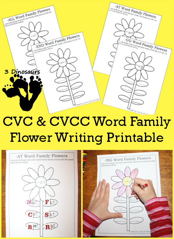 FREE Flower Themed Word Family Printables