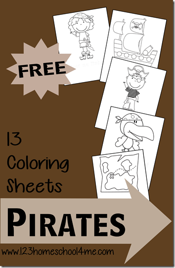 FREE Pirate Themed Coloring Pack