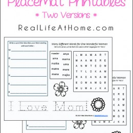 FREE Mother's Day Placemat Activity Printables