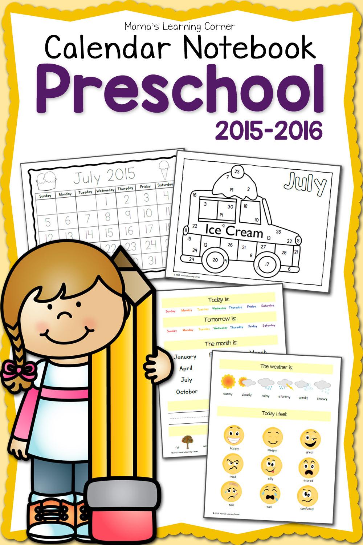 FREE Preschool Calendar Notebook for 2015-16   Free ...