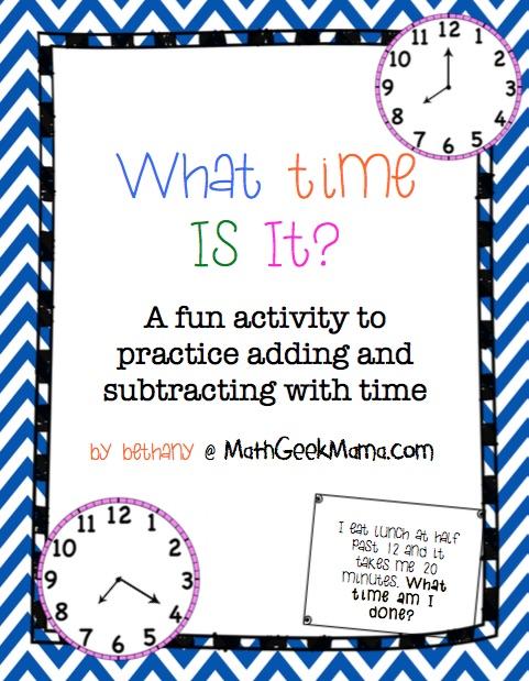 FREE Math Time Activity