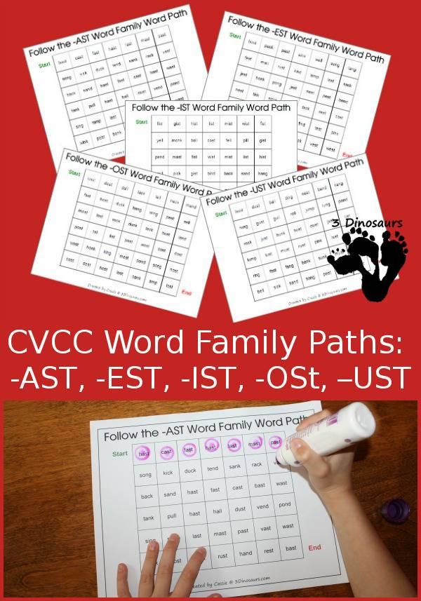 FREE CVCC Word Family printables
