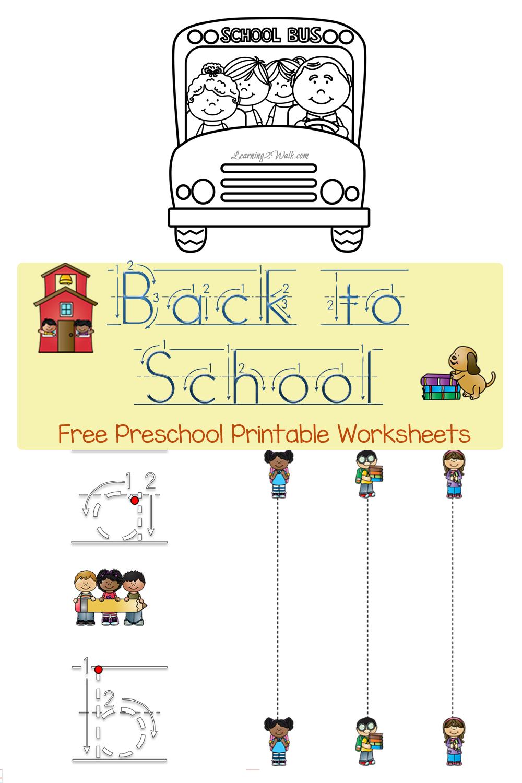 FREE Back to School PreK Worksheets