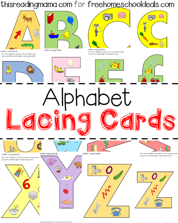 photograph about Printable Lacing Cards named Absolutely free Alphabet Lacing Playing cards (Instantaneous Down load)