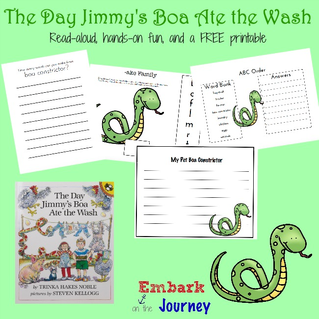 http://embarkonthejourney.com/the-day-jimmys-boa-ate-the-wash-read-aloud-activities-and-free-printable/