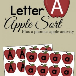 FREE Letter A Apple Sorting pack