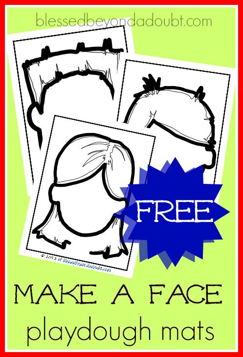 FREE Make a Face Playdough Mat