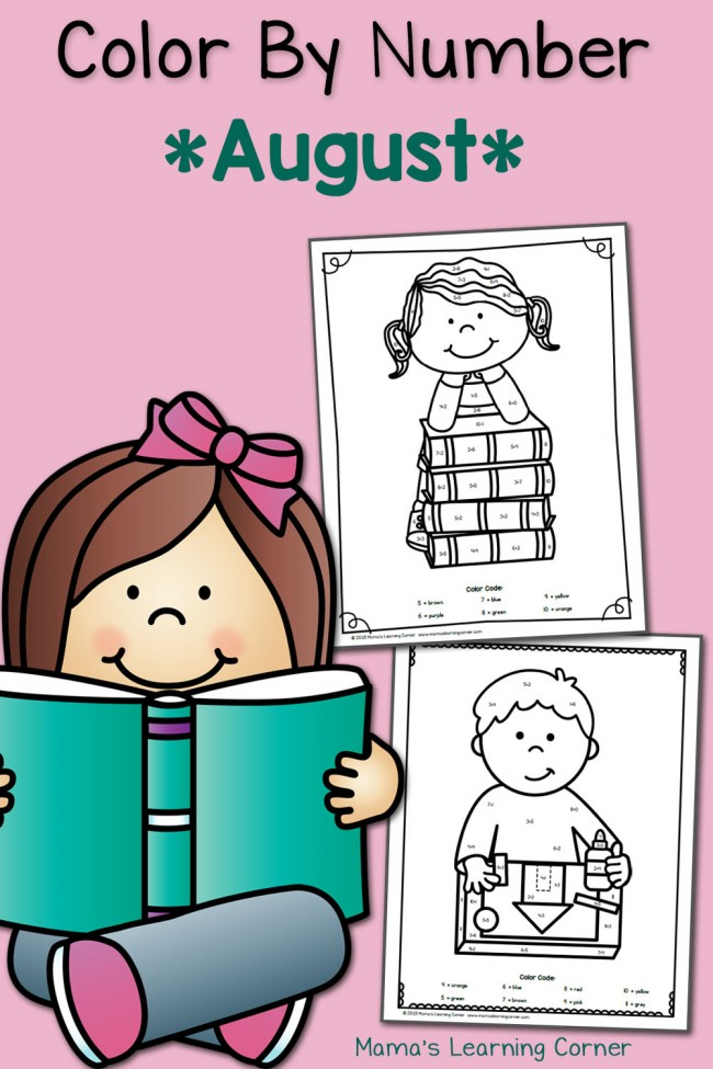 FREE August Color By Number Worksheets