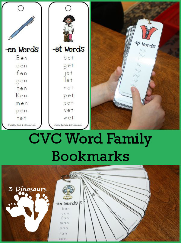 Help word families stick with these FREE Word Family Bookmarks! #fhdhomeschoolers #freehomeschooldeals #homeschoolers #hsfreebies #wordfamilies