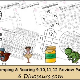 FREE Romping and Roaring Numbers Review Pack