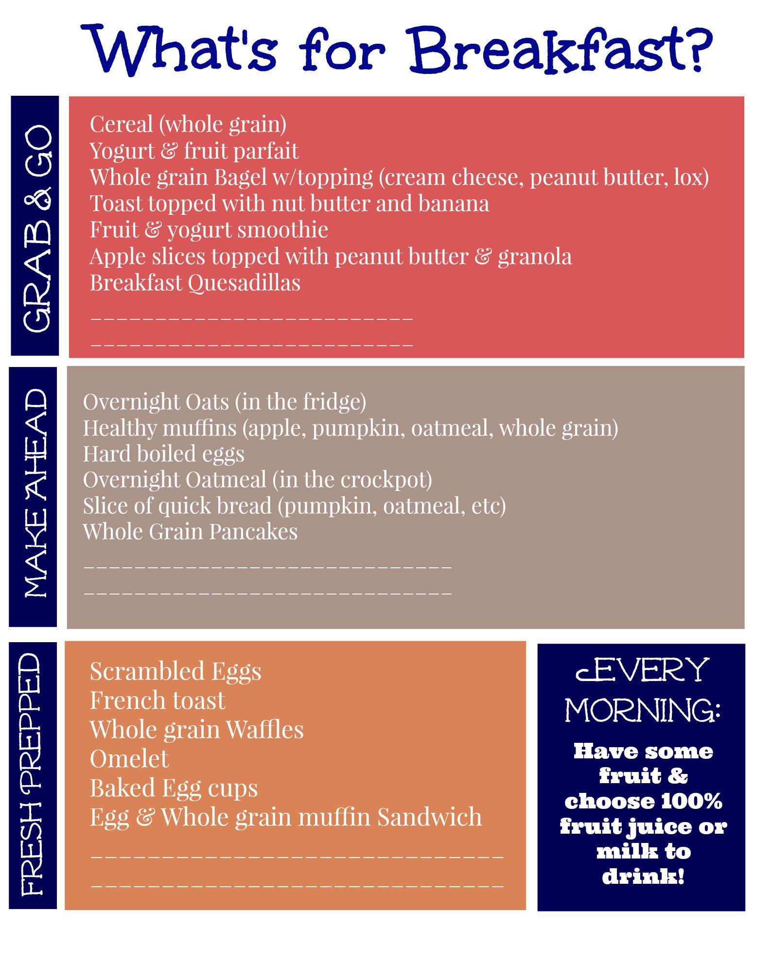 Free Printable List Of Healthy Breakfast Ideas