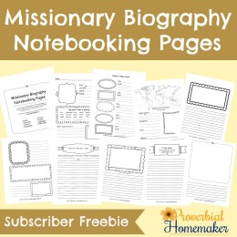 FREE Missionary Biography Notebooking Pages