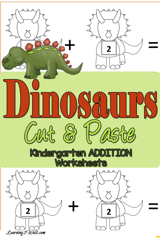 free dinosaurs cut and paste addition worksheets. Black Bedroom Furniture Sets. Home Design Ideas