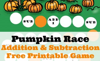 Instantly download this FREE Pumpkin Race Printables Pack for a fun Fall-themed math game! #fhdhomeschoolers #freehomeschooldeals #fallresources #homeschoolmath #hsfreebies