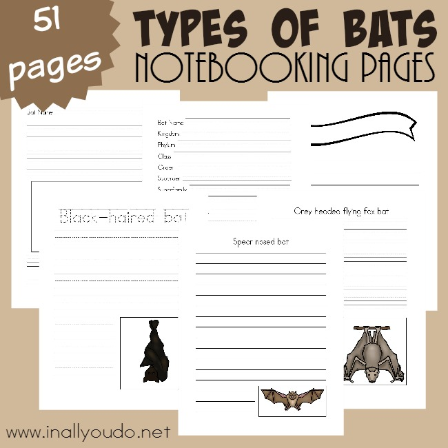 FREE Bats Notebooking Pages