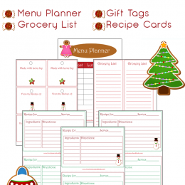 Free Christmas Themed Menu Planner Printables Set